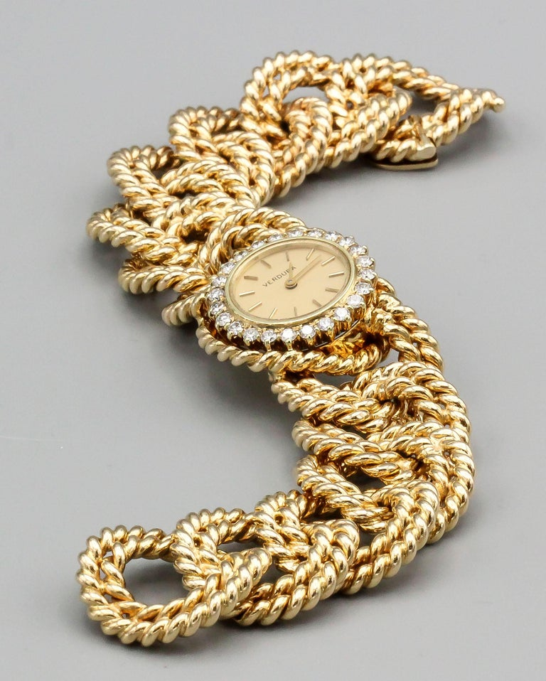 Verdura Diamond and Gold Link Watch Bracelet For Sale 2