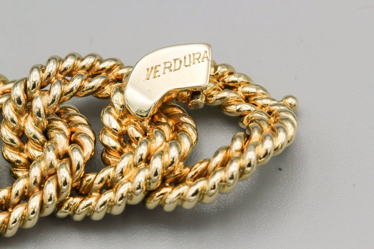 Verdura Diamond and Gold Link Watch Bracelet For Sale 4