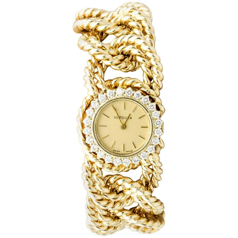 Verdura Diamond and Gold Link Watch Bracelet For Sale