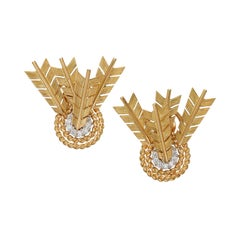 Verdura Diamond and Gold 'Target' Earrings