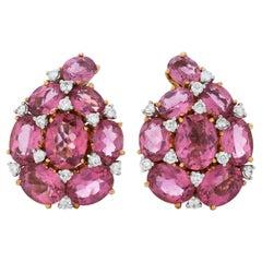 Verdura Diamond and Pink Tourmaline Paisley Ear Clips in 18 Karat Yellow Gold