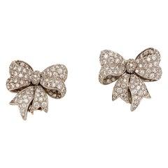 Verdura Diamond Bow Motif Clip Earrings