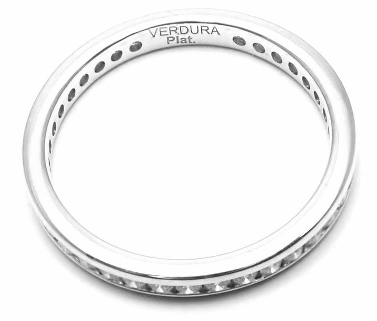 Verdura Diamond Eternity Platinum Band Ring For Sale 2