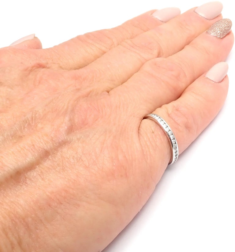 Verdura Diamond Eternity Platinum Band Ring For Sale 4