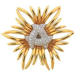 Verdura Diamond Gold Brooch Pin