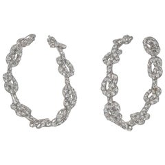 Verdura Diamond Love Knot Hoop Earrings