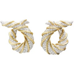Verdura Diamond Platinum and 18 Karat Gold Twisted Horn Earclips