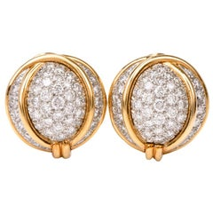 Verdura Diamond Platinum Gold Domed Clip-Back Earrings