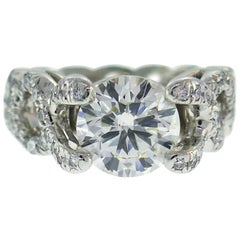 Verdura Diamond Platinum Criss Cross Ring 2.05 Carat GIA