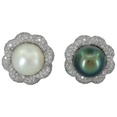 Verdura White And Black South Sea Pearl Diamond Ear Clips