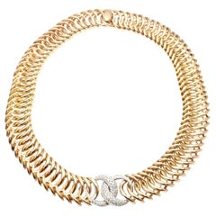 Verdura Double Crescent Diamond Yellow Gold Necklace