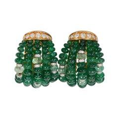 Verdura Emerald and Diamond Earrings