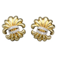 Verdura Fleur-de-Lis Diamond and 18 Karat Gold Earrings