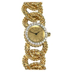 Verdura Gold and Diamond Rope Link Bracelet Wristwatch