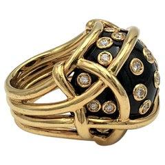 Verdura Gold Diamond and Black Jade Polka Dot Ring