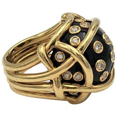 Verdura Gold Diamond and Black Jade Polka Dot Ring