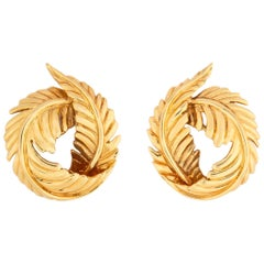 Verdura Gold Feather Earrings