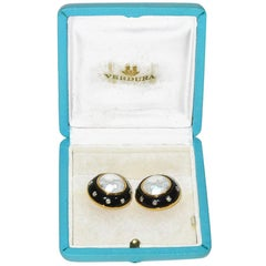 Verdura Gold Pearl Diamond Onyx Ear Clips