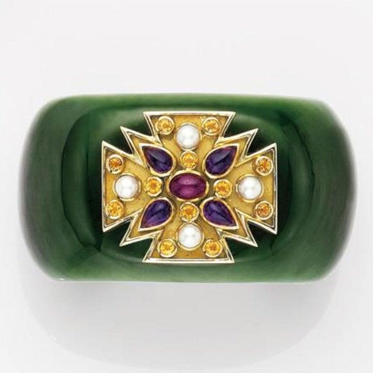 Verdura Green Jade and Gem-Set 'Maltese' Cuff Bracelet In Good Condition For Sale In West Hollywood, CA