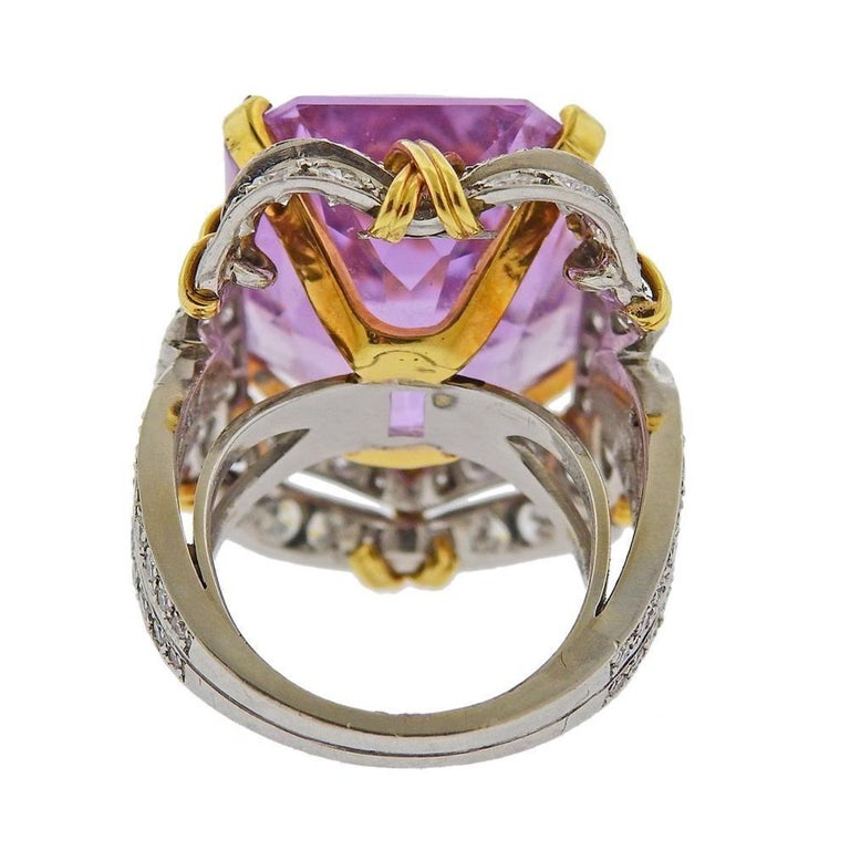 Verdura Kunzite Gold Diamond Cocktail Ring In Excellent Condition For Sale In New York, NY
