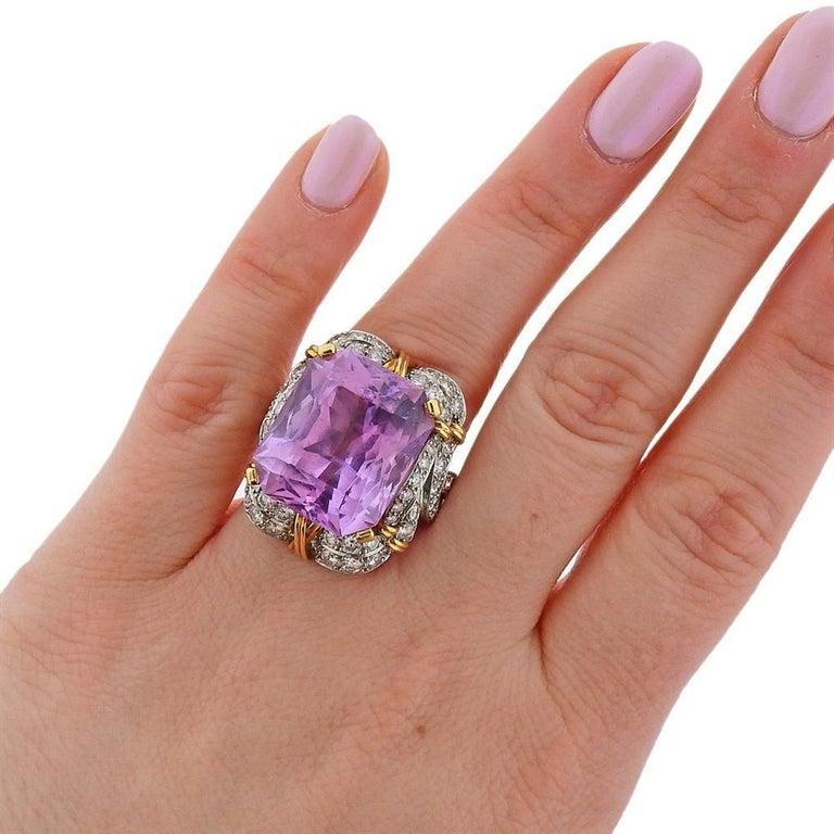 Women's Verdura Kunzite Gold Diamond Cocktail Ring For Sale