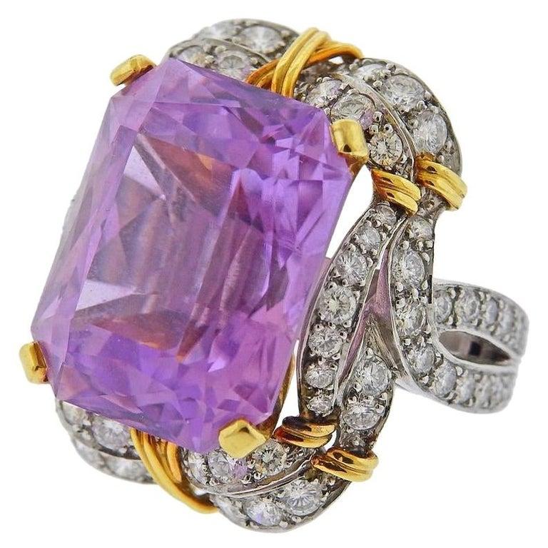 Verdura Kunzite Gold Diamond Cocktail Ring For Sale