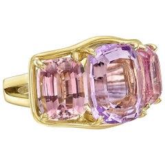 Verdura Kunzite Pink Tourmaline Three-Stone Ring