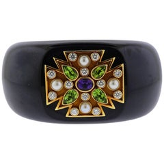 Verdura Maltese Cross Black Jade Diamond Peridot Amethyst Gold Hinged Bracelet