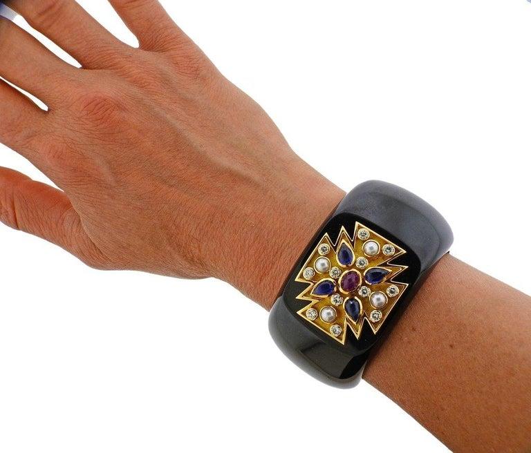 Women's Verdura Maltese Cross Black Jade Diamond Sapphire Ruby Pearl Cuff Bracelet For Sale