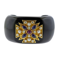 Verdura Maltese Cross Black Jade Diamond Sapphire Ruby Pearl Cuff Bracelet