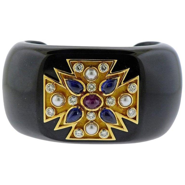 Verdura Maltese Cross Black Jade Diamond Sapphire Ruby Pearl Cuff Bracelet For Sale