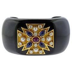Verdura Maltese Cross Black Jade Diamond Sapphire Ruby Pearl Cuff Bracelet