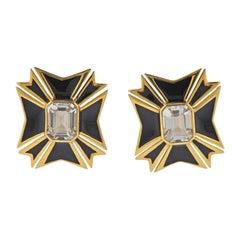 Verdura Maltese Cross White Topaz Gold Enamel Earrings