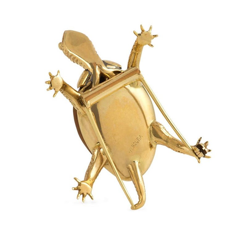 Retro Verdura Midcentury Gold and Shell Turtle Clip Brooch For Sale