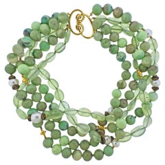 Verdura Multi Gem Set Pearl Gold Torsade Necklace