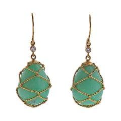 Verdura Net Drop Chrysoprase Diamond Gold Earrings