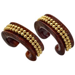 Verdura Pair of Vintage Carved Wood and Gold Bead Cuffs