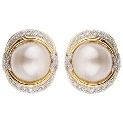 Verdura Pearl Diamond Yellow Gold Platinum Earrings