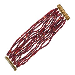 Verdura Red Bead Gold Multi-Strand Bracelet