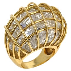 Verdura Rock Crystal Yellow Gold 'Cage' Dome Ring