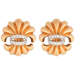 Verdura Rose Gold and Diamond Fleur de Lis Earrings