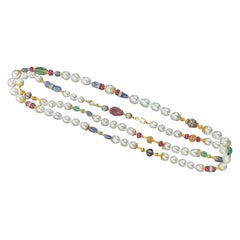 Verdura South Sea Pearl, Sapphire, Ruby, Emerald, Diamond and Gold Long Necklace