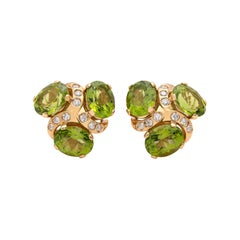Verdura 'Three Stone' Peridot and Diamond Earclips