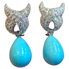 Verdura Turquoise and Diamond Earrings