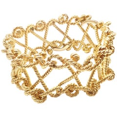 Verdura Twisted Rope Openwork Wide Yellow Gold Link Bracelet