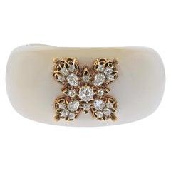 Verdura White Agate Diamond Gold Cuff Bracelet