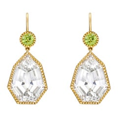 Verdura White Topaz and Peridot Byzantine Drop Earrings