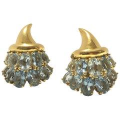 Verdura Yellow Gold and Aquamarine Cornucopia Earrings