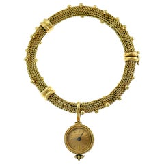 Verdura Yellow Gold Bracelet with Watch Pendant, 1960s