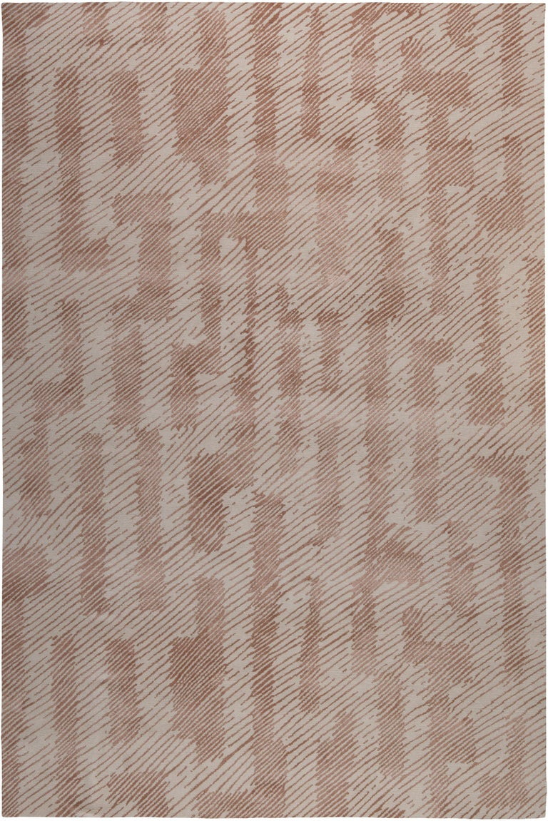 For Sale: Pink (Clay) Verge Rug in Hand Knotted Wool and Silk by Kelly Wearstler